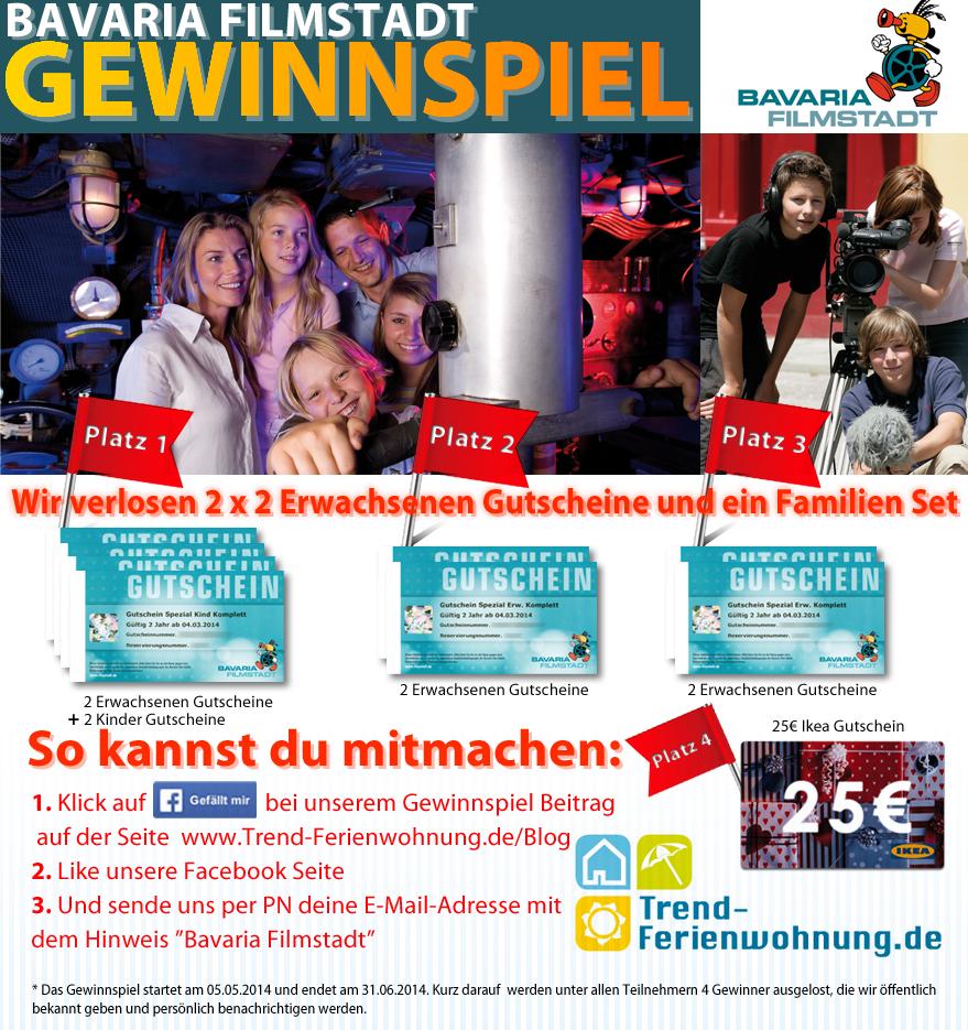 Gewinnspiel Bavaria Filmstadt mit Trend-Ferienwohnung.de