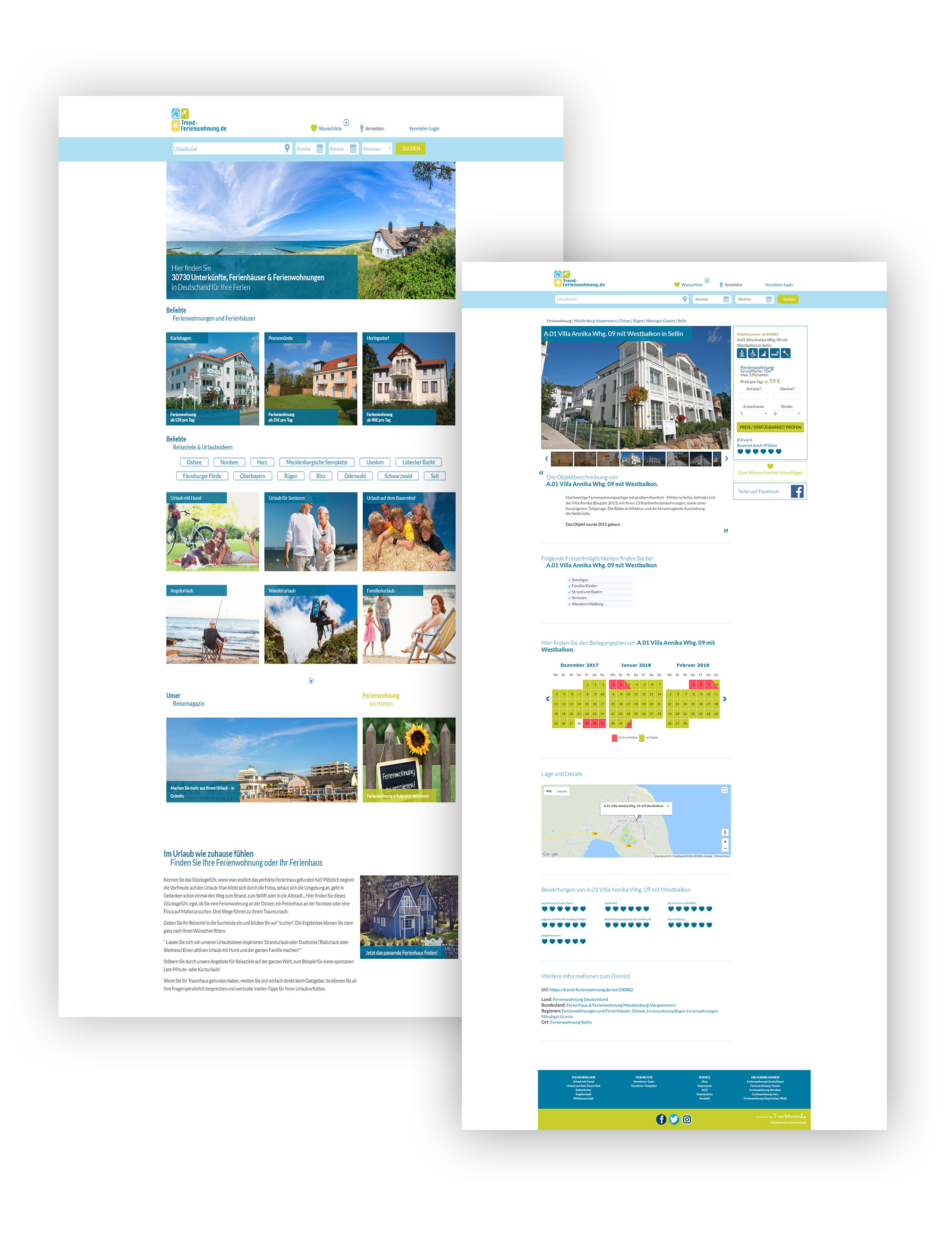 Trend-Ferienwohnung Startseite und Unterseite